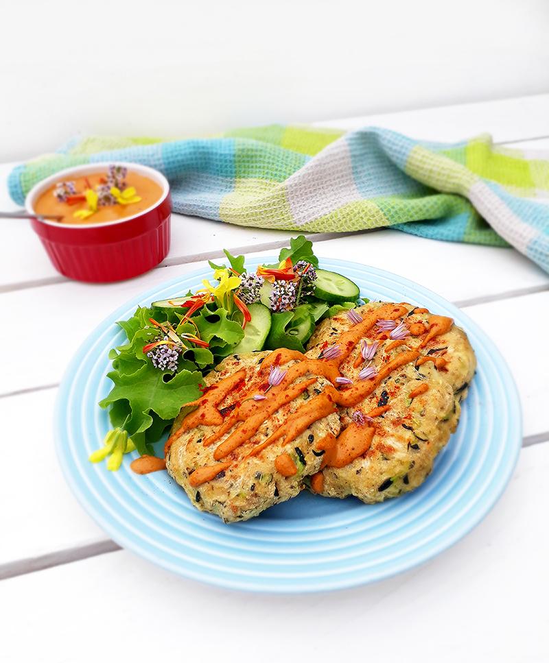 Vegan Gluten free Oil free Zucchini Fritters With Paprika Sauce Recipe 4