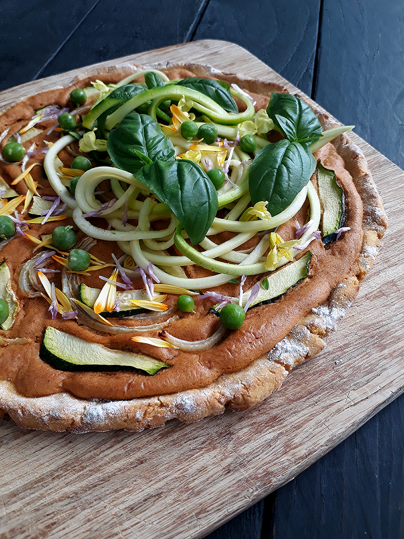Kumara (Sweet Potato) Pizza (Vegan, Gluten-free, Yeast-free, Oil-free, Without Tomato)