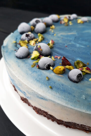 Vegan Gluten free No Bake Dreamy Blue Cake Fruit Sweetened Recipe 2 1