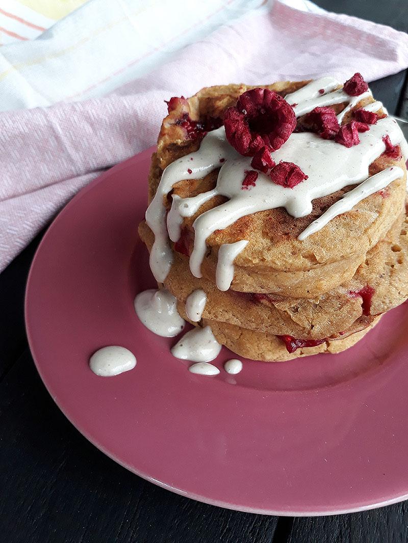 Vegan Glutenfree Apricot Raspberry Pancakes