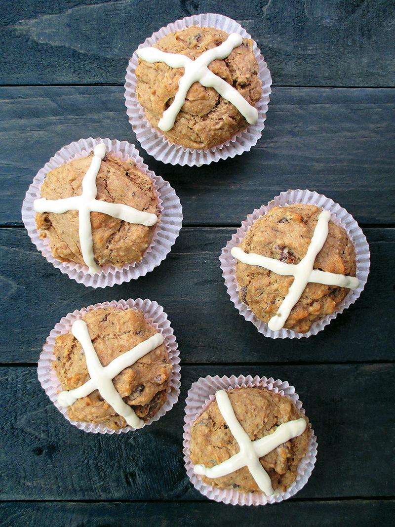 Hot-Cross Muffins (Vegan, Gluten-free, Yeast-free)