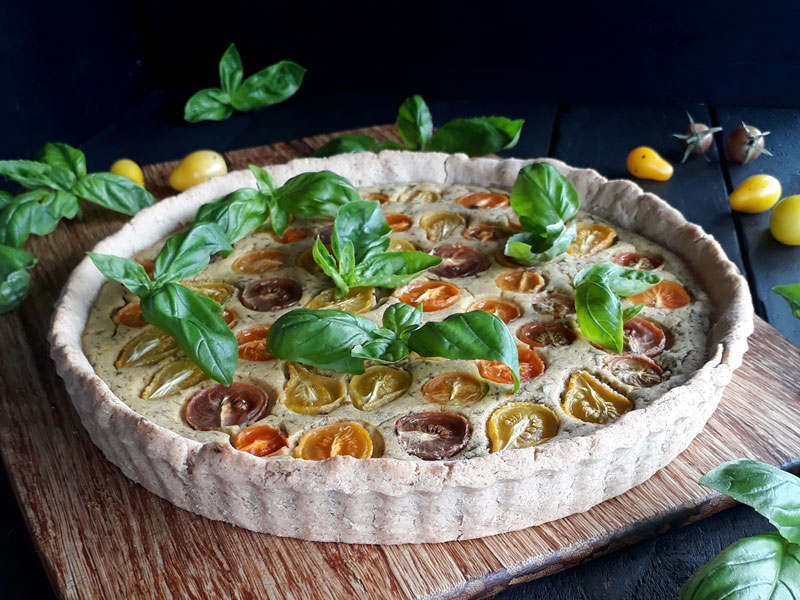Basilikum Tomaten Tarte Vegan Glutenfrei Rezept 2