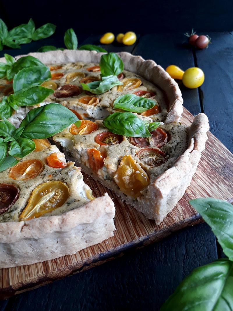Basil Tomato Tart (Vegan, Gluten-free, Oil-free)