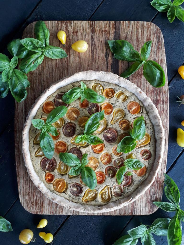 Vegan Gluten-free Basil Tomato Tart
