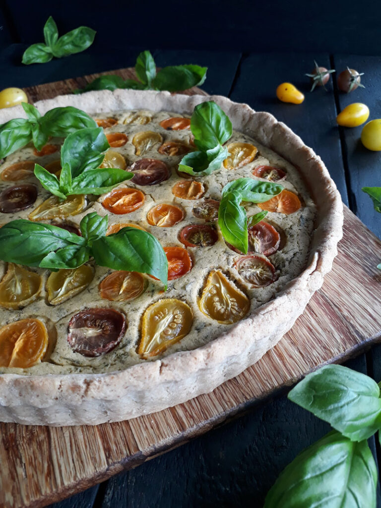 Vegan Gluten-free Basil Tomato Tart Recipe