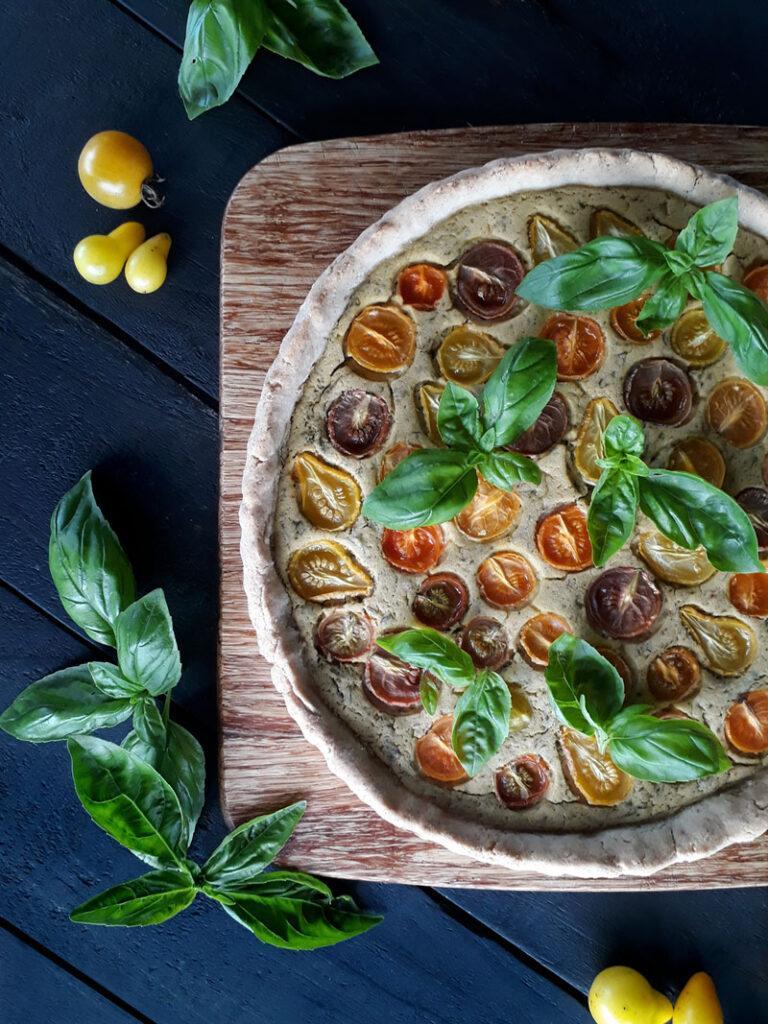 Veganes Glutenfreies Basilikum Tomaten Tarte Rezept