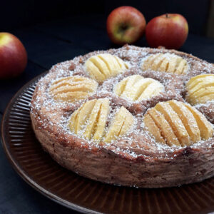 Versunkener Apfelkuchen Vegan Glutenfrei Fruchtgesüßt